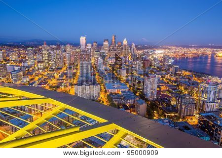 Seattle Skyline Panorama At Sunset