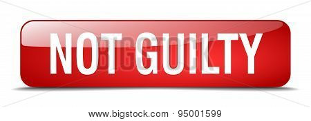 Not Guilty Red Square 3D Realistic Isolated Web Button