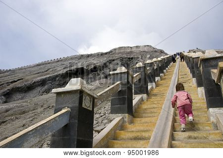 Baby Rising Stairs On Bromo Vocano, Indonesia