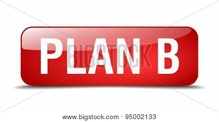 Plan B Red Square 3D Realistic Isolated Web Button