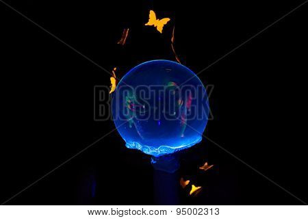 Photo of woman looking through luminous bubble