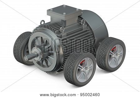 Electric Car 3D Concept - Motor On Wheels