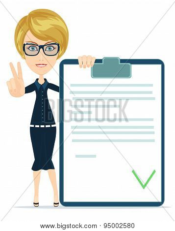 Woman showing a Document in Which All Approved and Agreed .