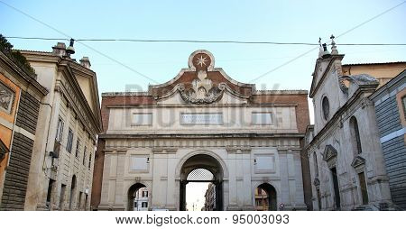 Gate Of Piazza Del Popolo In Rome Italy