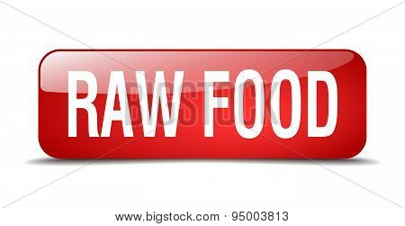 Raw Food Red Square 3D Realistic Isolated Web Button
