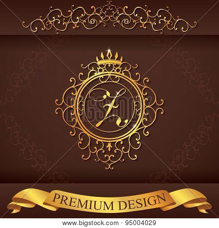 Letter Z. Luxury Logo Template Flourishes Calligraphic Elegant Ornament Lines. Business Sign, Identi