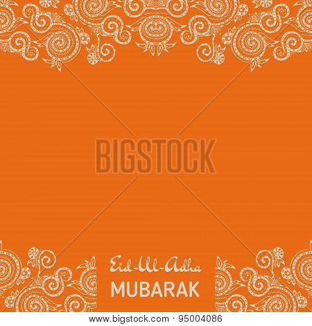 Greeting card template for Muslim Community Festival Eid Al Fitr Mubarak with zentangle ornament.