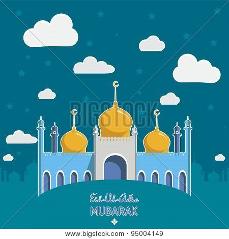 Flat Vector Illustration of Mosque for Muslim Community Festival Eid Al Fitr