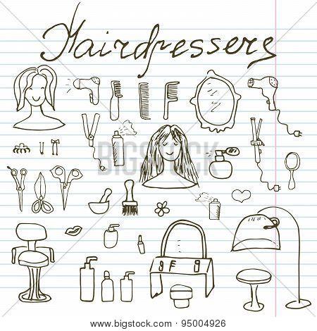 Hairdresser Equipment Doodles Set. Hand-drawn Sketch Vector Illustration, On Paper Notebook