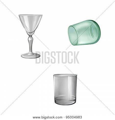 Glass tableware, shot glass,green glass, goblet, wineglass isolated on white background