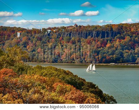 Hudson River Palisades and Sailboat