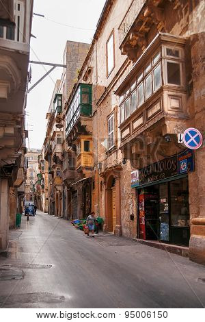 Valletta, Malta - February 20, 2010. Ancient Street In Valletta, Malta.