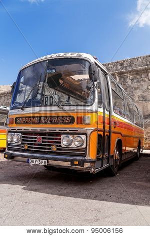 Valletta, Malta - February 13, 2010. Colorful Old British Buses From The 60S.