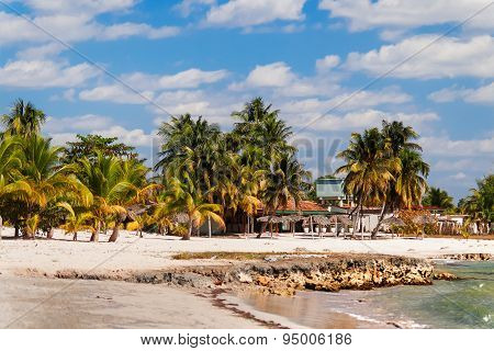 Coast Of One Of The Islands Of Cuba - Sea, Palms And Bungalow.
