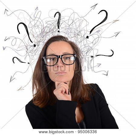 Manager businesswoman analyzes
