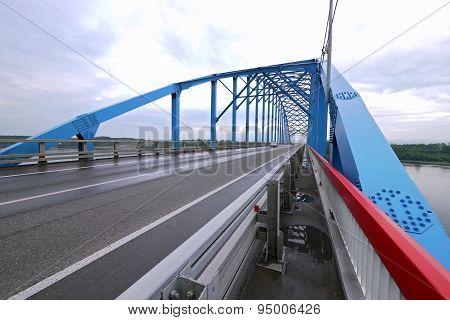 Krasnoyarsk, Eastern Siberia - 15 August 2012: The Bridge Over The Yenisei River, The Road Of The M5