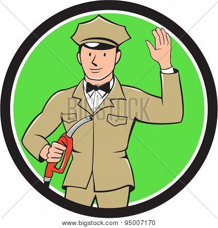 Gas Jockey Attendant Waving Circle Cartoon