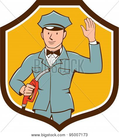 Gas Jockey Attendant Waving Shield Cartoon