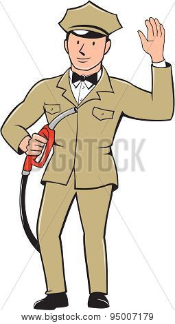 Gas Jockey Attendant Waving Isolated Cartoon