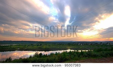 Irkutsk Region. Tulun. Siberian Nature. The River Ia.