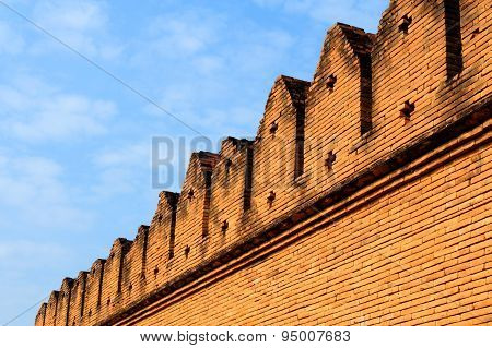 Antique And Old Red Brick City Wall