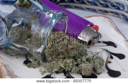 Silver Afghan Medical Marijuana on a Tray