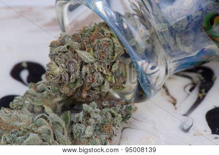Macro Close up Silver Afghan Medical Marijuana