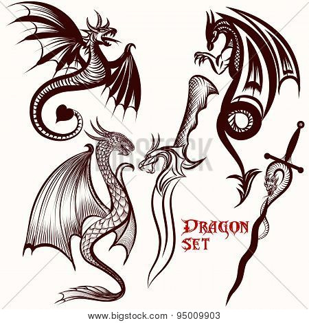 Dragon Vector Set For Tattoo Design