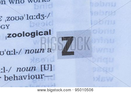 Letter Z In Dictionary