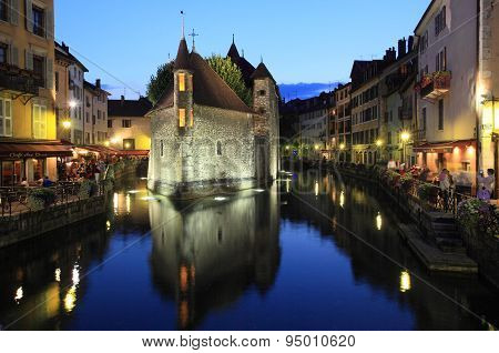 Twilight view of historic centre of Annecy