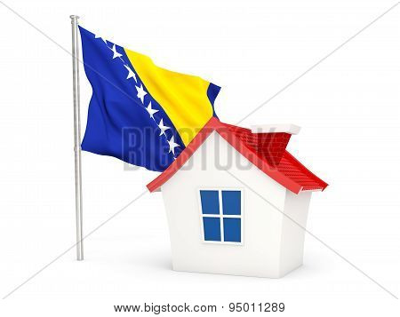 House With Flag Of Bosnia And Herzegovina