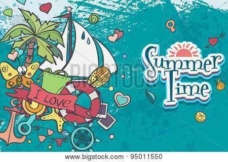 A Card With Summer And Sea Doodles With A White Boat