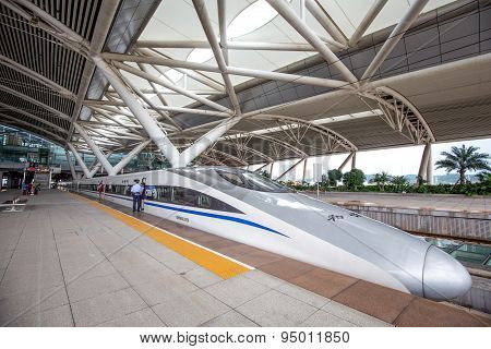 Guangzhou,china - June,14,2015: The Guangzhou South Railway Station Is New And Modern Railway Statio