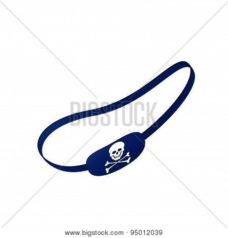 Blue eye patch with skull symbol