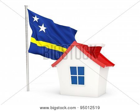 House With Flag Of Curacao