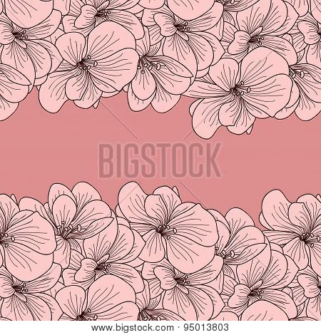 Pink Background With Two Geranium Flower Borders