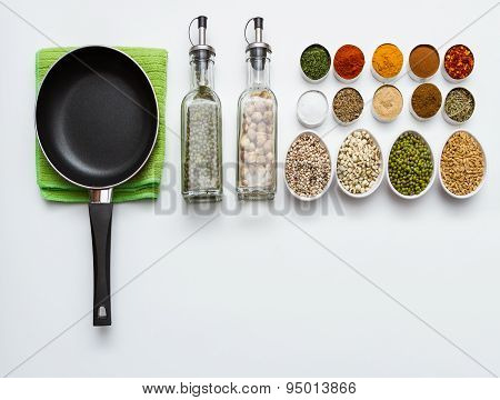 Spices And Herbs Selection On White Background.