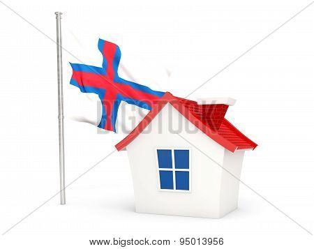 House With Flag Of Faroe Islands
