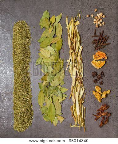 Many Spices And Herb For Health Background.