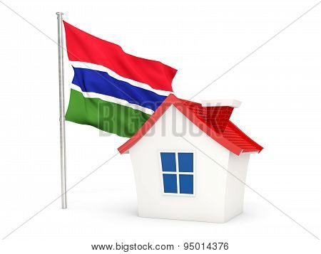 House With Flag Of Gambia