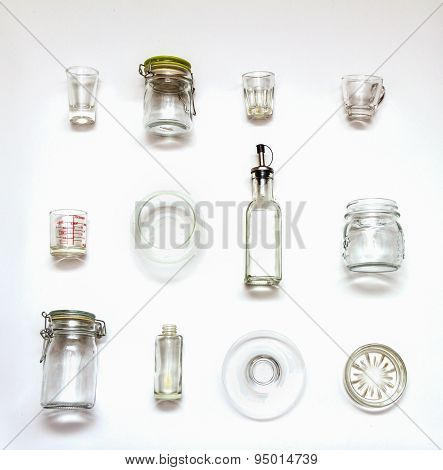 Many Glass Bottle For Packaging On White Background.