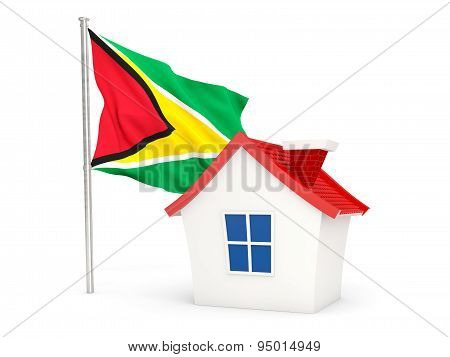 House With Flag Of Guyana