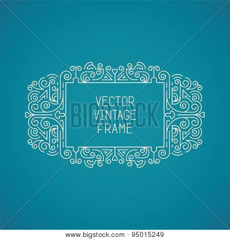 Single Vector Vintage Floral Frame For Your Text, Monogram Or Pictogram In Mono Line Style