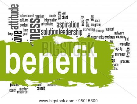Benefit Word Cloud With Green Banner