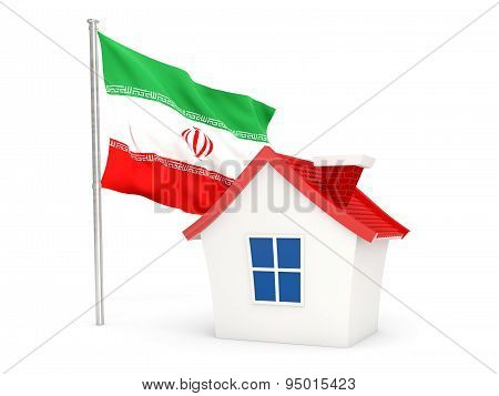 House With Flag Of Iran