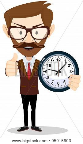 Young businessman holding a clock in office