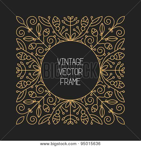 Vector Vintage Floral Frame On Black Background In Mono Thin Line Style
