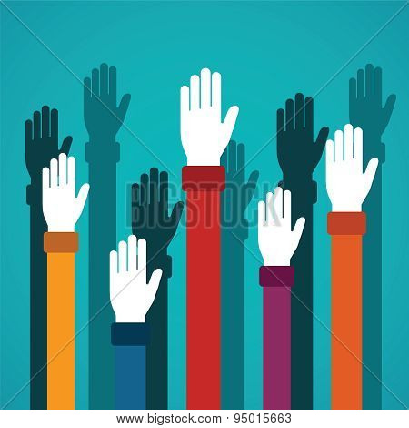 Voting Rising Hands Vector Concept In Flat Style