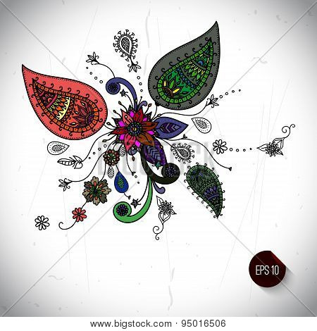 Hand drawn doodle ornate floral background isolated over white b