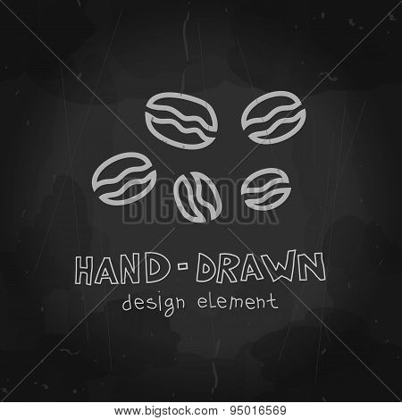 Hand drawn vector coffee beans chalkboard drawing. Stylized chal